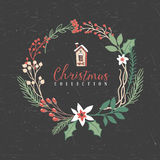 Decorative greeting christmas wreath with house. Decorative greeting wreath with house. Christmas collection. Hand drawn illustration. Design elements Royalty Free Stock Photography