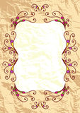 Decorative greeting frame on old paper background Stock Photo
