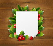 Decorative Greeting Template. With Christmas thorn and blank paper on wooden background vector illustration Stock Photography
