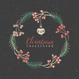 Decorative greeting wreath with Christmas tree toy. Christmas collection. Hand drawn illustration. Design elements Royalty Free Stock Images