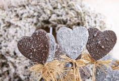 Decorative grey hearts Stock Photography