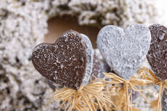 Decorative grey hearts Stock Images