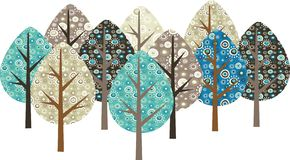 Decorative grunge trees Stock Images