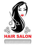Decorative hair salon icon with pretty girl Royalty Free Stock Photos