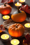 Decorative halloween autumn pumpkins and candles Royalty Free Stock Photography
