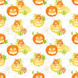 Decorative Halloween pumpkins, spider web and cats seamless vect Royalty Free Stock Photography