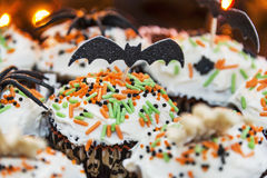 Decorative Halloween themed cupcakes Royalty Free Stock Image