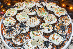 Decorative Halloween themed cupcakes Stock Photography