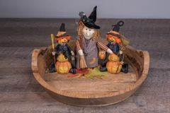 Decorative halloween witches preparing for the scary party. In a nice wooden plate Royalty Free Stock Photography