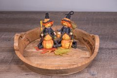 Decorative halloween witches preparing for the scary party stock images