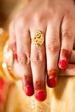 Decorative hand of bride Stock Photo