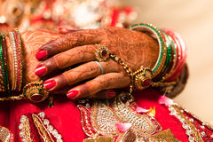 Decorative hand of bride Stock Image