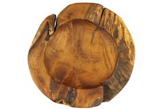Decorative hand carved natural teak bowl. Royalty Free Stock Photography