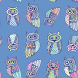 Decorative Hand dravn Cute Owl Sketch Doodle on blue background. Pastel colors. Vector Stock Photo