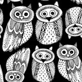 Decorative Hand dravn Cute Owl Sketch Doodle white bird on a black background seamless pattern. Vector Royalty Free Stock Image