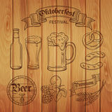 Decorative hand draw beer icons  and wood background. Stock Image
