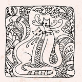 Decorative hand drawn cats in square doodle. On whie background Royalty Free Stock Photography
