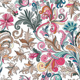 Decorative hand drawn doodle nature ornamental curl vector sketchy seamless pattern Stock Images