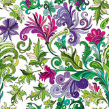 Decorative hand drawn doodle nature ornamental curl vector sketchy seamless pattern. Green curl and leaves with violet flowers Stock Images