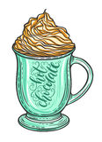 Decorative hand drawn doodle vector illustration. Hot chocolate or coffee in a mug with whipped caramel Royalty Free Stock Photography