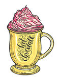 Decorative hand drawn doodle vector illustration. Hot chocolate or coffee in a mug with whipped caramel Royalty Free Stock Photos