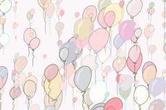 Decorative hand drawn flying balloons art illustrations. Seamless, congratulation, set & party. Decorative hand drawn flying balloons art illustrations. Good Royalty Free Stock Photos
