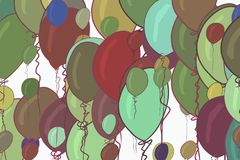 Decorative hand drawn flying balloons art illustrations. Surface, background, decoration & graphic. Decorative hand drawn flying balloons art illustrations Stock Photos