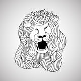 Decorative hand drawn lined lion Stock Photography