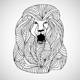 Decorative hand drawn lined lion Stock Photos