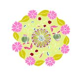 Decorative hand drawn mandala with different flowers, anti stress therapy pattern, pink and green colors without outline. Raster. Illustration royalty free illustration