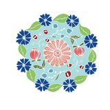 Decorative hand drawn mandala with different flowers, anti stress therapy pattern, blue and red colors without outline. Raster. Decorative hand drawn mandala vector illustration