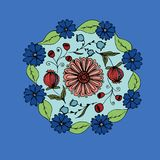 Decorative hand drawn mandala with different flowers, anti stress therapy pattern, blue and red colors. Raster. Illustration stock illustration