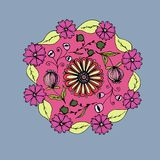 Decorative hand drawn mandala with different flowers, anti stress therapy pattern, pink and gray colors. Raster. Illustration royalty free illustration