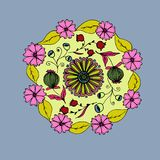 Decorative hand drawn mandala with different flowers, anti stress therapy pattern, pink and gray colors. Vector. Illustration stock illustration