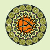 Decorative hand drawn mandala with different geometrical element Royalty Free Stock Photo