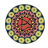 Decorative hand drawn mandala with different geometrical element stock photos