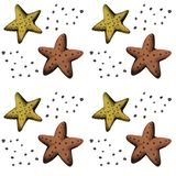Decorative hand-drawn pattern with sea starfish in Scandinavian style royalty free stock photos