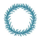 Decorative watercolor Christmas wreath of fir branch. Decorative hand drawn watercolor Christmas wreath. Green fir branches on a white background Royalty Free Stock Image