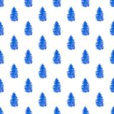 Seamless pattern with blue fir. Decorative hand drawn watercolor seamless pattern with blue fir trees on a white background Stock Image
