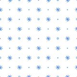 Seamless pattern with blue snowflakes. Decorative hand drawn watercolor seamless pattern with blue snowflakes on a white background Royalty Free Stock Photos
