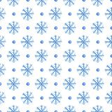 Seamless pattern with blue snowflakes. Decorative hand drawn watercolor seamless pattern with blue snowflakes on a white background Stock Image
