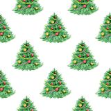 Seamless pattern with Christmas tree. Decorative hand drawn watercolor seamless pattern with Christmas tree on a white background Stock Photo
