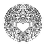 Decorative hand pattern with the image of forest nature for book coloring pages for adults. Antistress. Vector Stock Photo