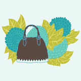 Decorative handbag. Hand drawn decorative handbag with abstract floral decorations, design element Royalty Free Stock Photography