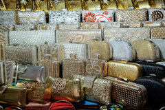 Decorative handbags displayed for sale in New Market area, Kolkata Stock Images