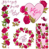 Decorative handdrawn floral heart, border, frame and seamless pa Stock Photos