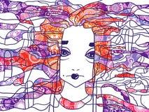 Decorative handdrawn portrait of a woman. Decorative abstract handdrawn portrait of a woman royalty free illustration