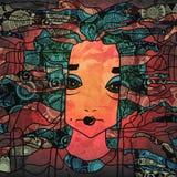 Decorative handdrawn portrait of a woman. Decorative abstract handdrawn portrait of a woman vector illustration