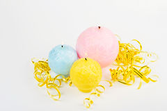 Decorative Handmade candles in the shape of a sphere Royalty Free Stock Image