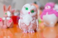 Handmade soap. Decorative handmade soap in the form of a sweet owl figurine Stock Photography